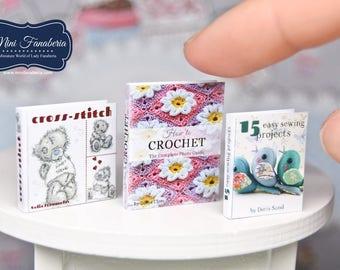 Books SET - Handicraft - miniature handmade Dollhouse 1:12 scale