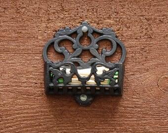 Cast Iron Match Safe, Old Match Holder, Black Iron Match Holder, Vintage Stick Match Holder