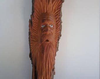 Wood Spirit Cottonwood Bark Carving