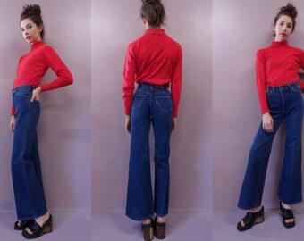 70s Levi's Bellbottoms//high waist dark wash denim jeans 24X31