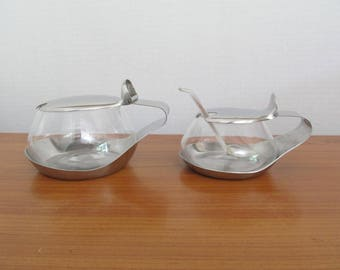 Small Vintage WMF Cromargan Germany Stainless Steel and Glass Sugar Bowl with Plastic Spoon