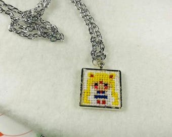 Sailor Moon Inspired Cross Stitch Pendant Necklace