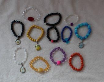 Lot of 3 Mystery Girl Girl's Charm Beaded Bracelets Dress Up Play New