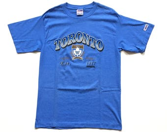 DEADSTOCK 1992 Trench ultra Toronto maple leafs nhl hockey t shirt made in the usa striped blue single stitch t shirt L