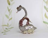 """Valentines day Spun cotton swan cake topper centerpiece with banner """"Love Greetings"""""""
