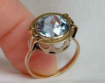 European Blue Topaz Gold Ring * Blue Topaz Gold Ring * Topaz Gold Ring * Blue Topaz Ring * European Gold Ring