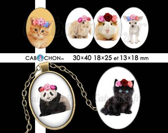 Animaux Bohèmes • 45 Images Digitales OVALES 30x40 18x25 13x18 mm lapin chat panda chien Chihuahua gipsy boho fleurs wild chaton couronne