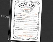 CUSTOM Guest Mad Libs Adult Birthday Printable 5 × 7 Customized - I Design, You Print