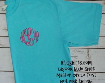 Lagoon Blue Comfort Colors T shirt. Monogrammed Comfort Colors Tee. Monogrammed Shirt. Monogrammed Comfort Colors Shirt. Monogram Tee