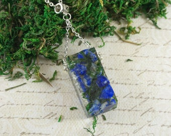 Lapis lazuli necklace Gift|For|Her Birthday Gift|For|Friend Blue stone necklace Dainty necklace Statement necklace Terrarium necklace clear