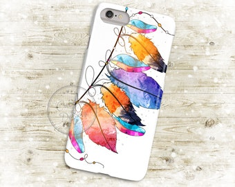 Boho Watercolor Feathers, 3D Phone Case, Iphone 6 7 7+ Samsung Galaxy S5 Thin Hard Case, Personalized Mobile Full Wrap, Dreamcatcher
