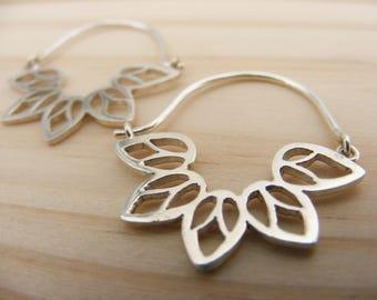 "Silver Handmade Hoop Earrings Mandala ""Panqa"""
