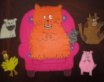 What Will Fat Cat Sit On. Felt story set.