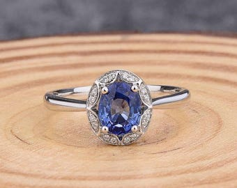 Sapphire Ring - Oval 6X8MM Sapphire Ring with Diamonds in Solid 14K White Gold