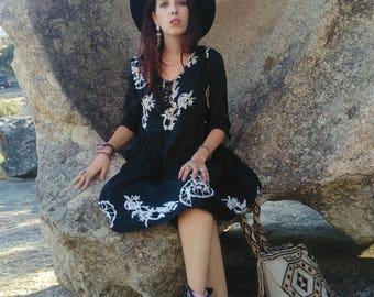 Boho embroidery dress