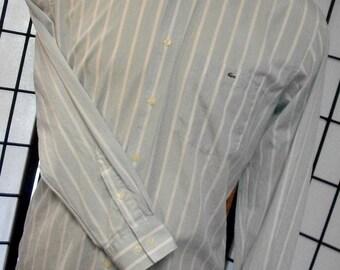 Lacoste men's alligator thin casual long sleeve striped cotton dress shirt 44