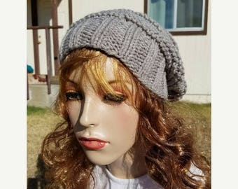 15% OFF SALE Handknitted slouchy hat, Ready to ship, Knitted hat, Knitted beanie, winter hat, Oatmeal Gray hat, knitted women's hat