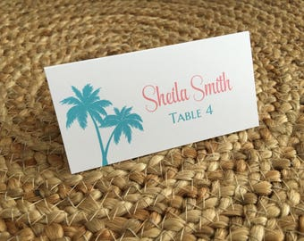 Place Cards, Wedding Place Cards, Destination Wedding, Beach Wedding, Custom Place Cards, Place Cards for Wedding, Palm Tree Place Cards
