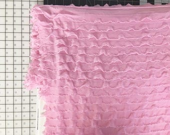 "1"" Pink Cascading Ruffle Fabric  by 1 yard"