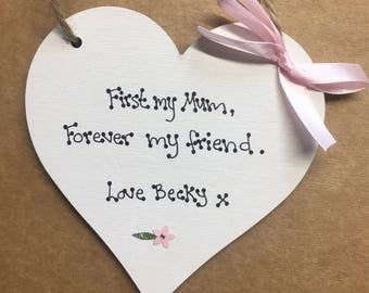 Mothers day gift friend mum mothers day as a handmade heart keepsake
