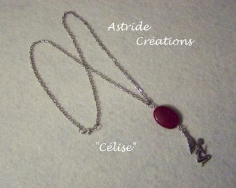 """""""Célise"""" silver chain with red Jasper charm and silver metal fairy"""