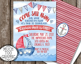 NAUTICAL Sail Away Sailboats Sailboat First 1st Birthday Party Invitation Invitations Red WHite & Blue w or W/O Photo Watercolor Custom