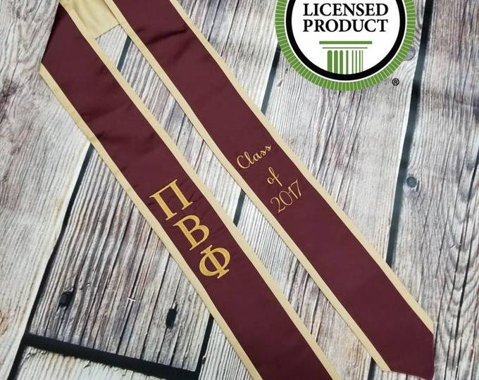 Featured listing image: Custom Embroidered Greek Stole - Fraternity, Sorority, Officially Licensed, perfect personalized Keepsake for your College Graduate.