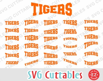Tigers EZ Layouts, svg, eps, dxf, Set of 30, Digital Cut File for cutting machines