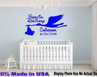 Stork Special Delivery with Baby Custom Name Date Disney Style Wall Decal Nursery Crib Room Vinyl Sticker Decor Fresh Made Newborn