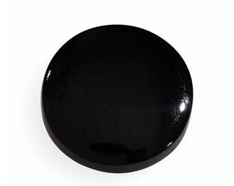 Black Jade Dyed Flat Round Cabochon Loose Gemstone 1A Quality 11mm TGW 3.55 cts.