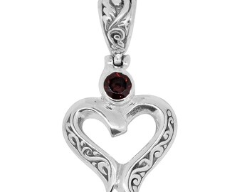 Mozambique Garnet Sterling Silver Heart Pendant without Chain TGW 0.50 cts.