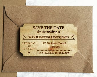 Simple Ticket Style Wooden Save The Date Magnet