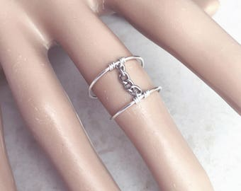 Modern Jewelry, Midi Ring, Chain, Statement, Knuckle Ring, Sized, Unique, Sterling Silver, Thin Ring, Wire Ring, Mid Finger, Above, Fashion