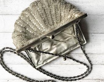 Beaded Clutch/ Vintage Clutch/ Bridal Clutch/ Beaded Purse/ Wedding Clutch/ Bridal Purse/Silver Clutch/ Wedding Purse/ Art Deco Clutch