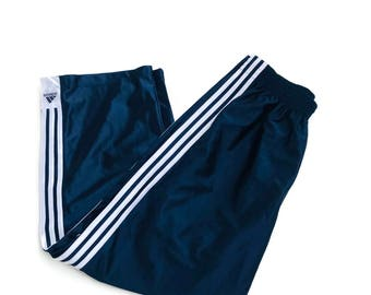 Vintage Adidas Blue Snap Off Tear away basketball pants size large