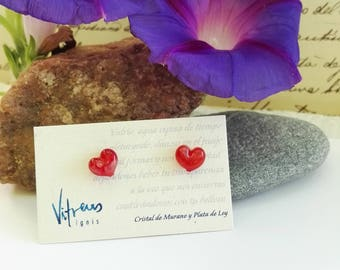 Hearts Earrings Made with Murano Glass and Sterling Silver