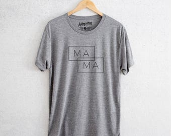 Mama Boxed - Tri-Blend Unisex Crew Grey - Quote Tee, Motivational tee, Positive Quote T-shirt, Gift for Her, cool mom, New mom, mama