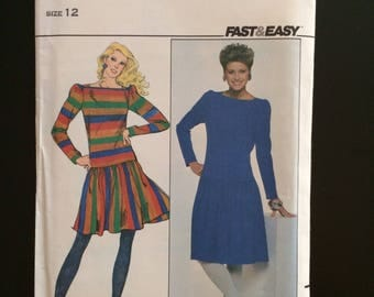 1980's Butterick Pattern # 4490, Misses Size 12, Fast&Easy Dress, Uncut