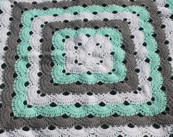 Mint/Teal, Gray and White Crochet Baby Blanket/ Crochet Blanket/ Crochet Virus Blanket/ Gender Neutral Baby Blanket