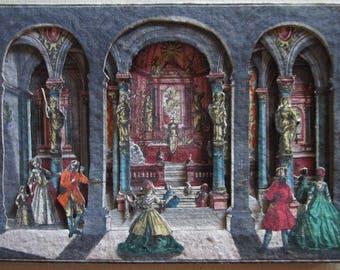 antique Engelbrecht theatre scene hand-colored copper engraved  scene 1750 ! lanterne magique