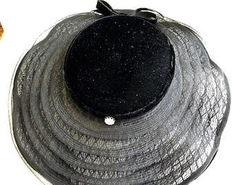 Vintage 50's Wide Brim Black Lace Velvet & Crinoline Tilt Hat