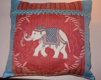 The colors of India elephant cushion
