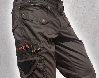 Shorts Cargo Pants Multiple Pockets,Burning Man,Festival Tribal Heavy Duty Mens Clothing,Christmas Gift For Him Hipster,Tribal,Steampunk,