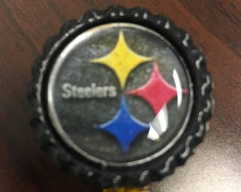 Pittsburgh Steelers Inspired Bottlecap Retractable ID Badge Holder Name Tag Reel