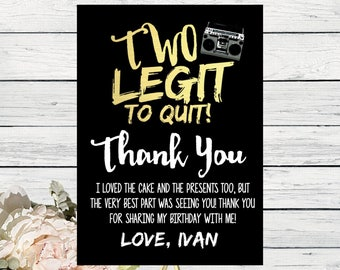 Thank You Card - Two Legit Two Quit - matching design***Digital File*** (Two-LegitThx)