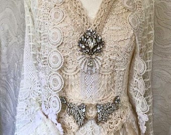 Vintage wedding dress,lace bridal gown,alternative wedding dress,Gypsy wedding dress,fairy wedding dress,unique wedding dress,open back, raw