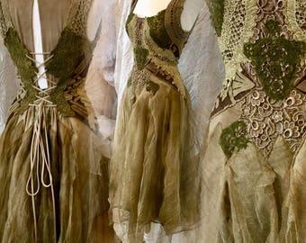 SOLD !!!!!! Boho wedding dress,bohemian dress nature, woodland wedding dress golden,wedding dress vintage inspired,nature wedding dress,rawr