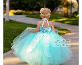 Beautiful Flower Girl Tutu Dress, Tutu Dress, Blue Radiance, Flower Girl Dress,  Wedding, Birthday, Photo Prop