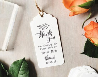 First Meal as Mr and Mrs Stamp | Custom Wedding Stamp - First Meal Stamp - Wedding Favour Tags