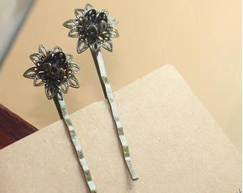 Bronze Bobby Pins, Wedding Bobby Pins, Vintage Hair Pins, Flower Bobby Pins, First Communion bobby pins, Flower Hair Pins